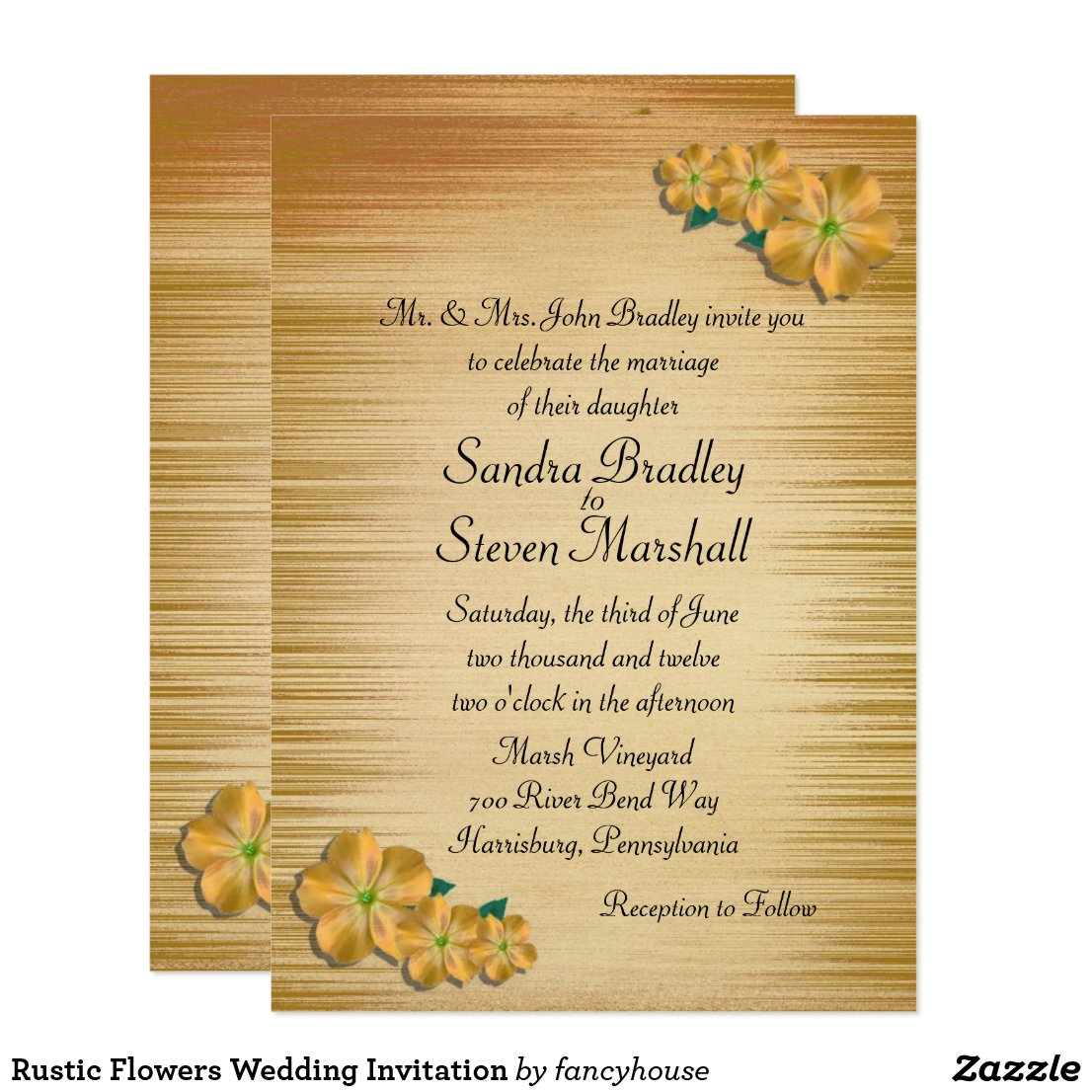 Rustic Flowers Wedding Invitation