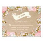 Rustic Flowers   Wedding Response Card