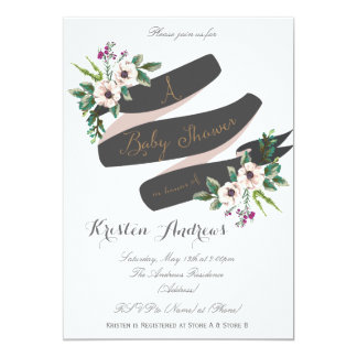 Rustic Flowers white Baby Shower Invitation