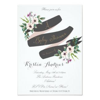 Rustic Flowers white Baby Shower Invitation