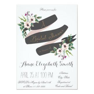 Rustic Flowers white Bridal Shower Invitation