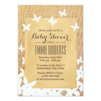 Rustic Flying Butterflies Burlap Baby Shower Card