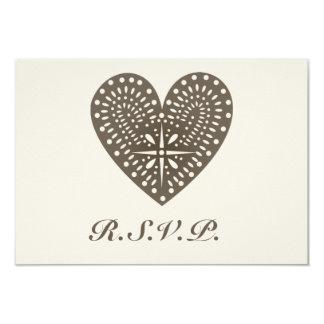 Rustic Folk Art Inspired Heart Wedding RSVP Card
