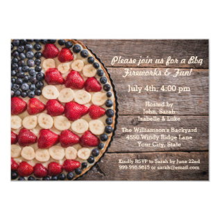 Rustic Foodie July 4th American Usa Flag Fruit Pie Card at Zazzle