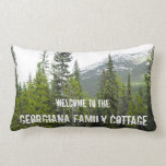 [ Thumbnail: Rustic Forest and Mountain Cottage Welcome Pillow ]