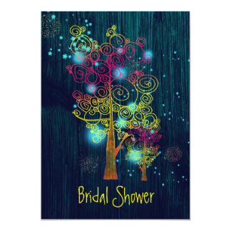 Rustic Forest Blue Fairytale Bridal Shower Card