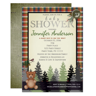 Rustic Forest Country Plaid Baby Shower Bear Card