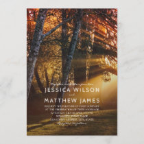 Rustic Forest Country Tree Sunset Outdoor Wedding Invitation