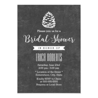 Rustic Forest Pine Cone Chalkboard Bridal Shower Card