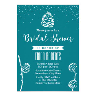 Rustic Forest Pine Cone Elegant Bridal Shower Card