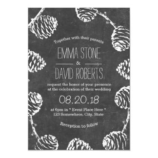 Rustic Forest Pine Cones Chalkboard Wedding Card