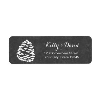 Rustic Forest Pine Cones Chalkboard Wedding Label