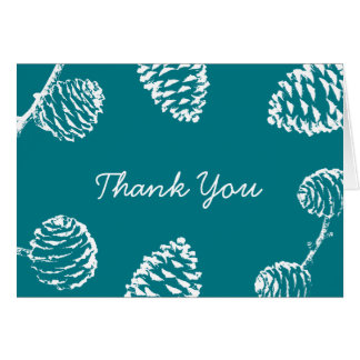 Rustic Forest Pine Cones Green Thank You Card