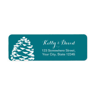 Rustic Forest Pine Cones Wedding Label
