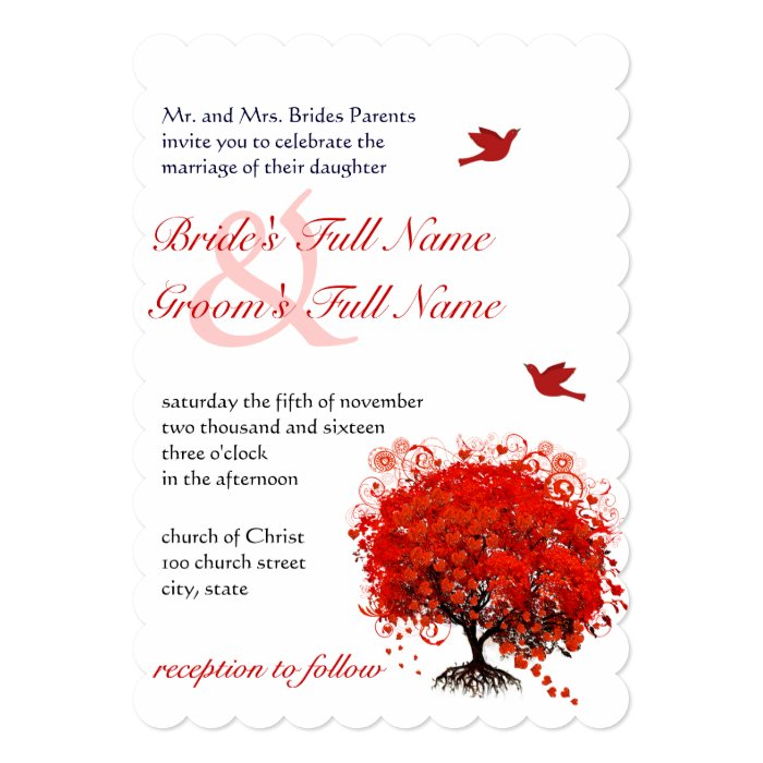 Rustic Forest Red Tree Love Birds Wedding Card