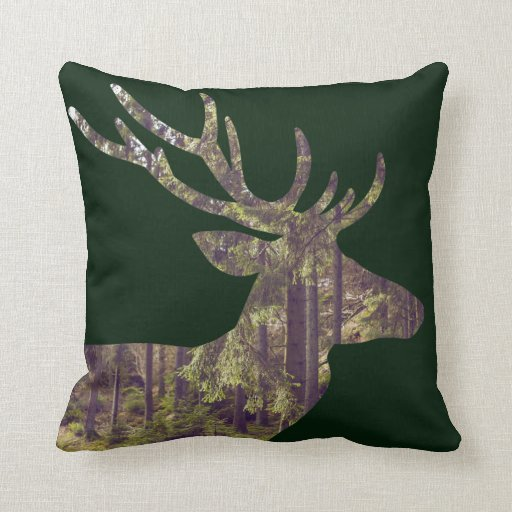 rustic forest scene deer on dark green throw pillow zazzle. Black Bedroom Furniture Sets. Home Design Ideas