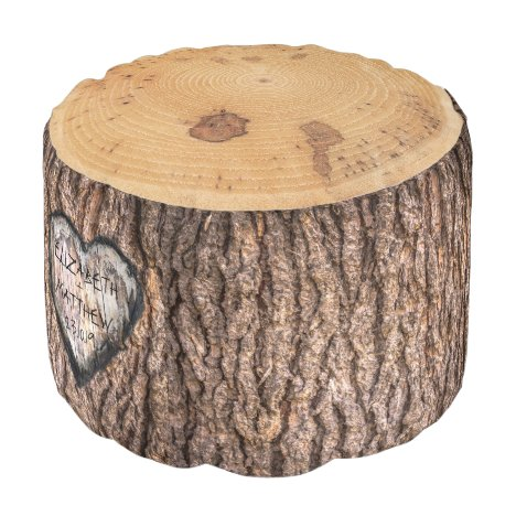 Rustic Forest Tree Stump | Wedding Heart Pouf