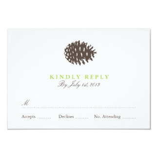 Rustic Forest Wedding RSVP 3.5x5 Paper Invitation Card