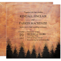 Rustic Forest Wood Wedding Invitation 5.25 x 5.25