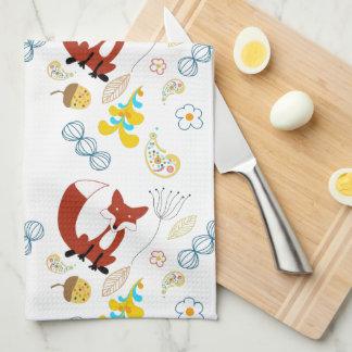 Rustic Forest Woodland Animals Fox Pattern Kitchen Towel