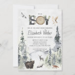 """Rustic Forest Woodland Bear Baby Shower Invitation<br><div class=""""desc"""">Featuring watercolor forest and woodland animals. You can almost hear the cold breeze whistling through a mountainside forest and the aroma of fresh pine filling the air with this green, light blue, and ivory color scheme. The earthiness and organic nature of a combo like this is delicate, fresh, and easy...</div>"""