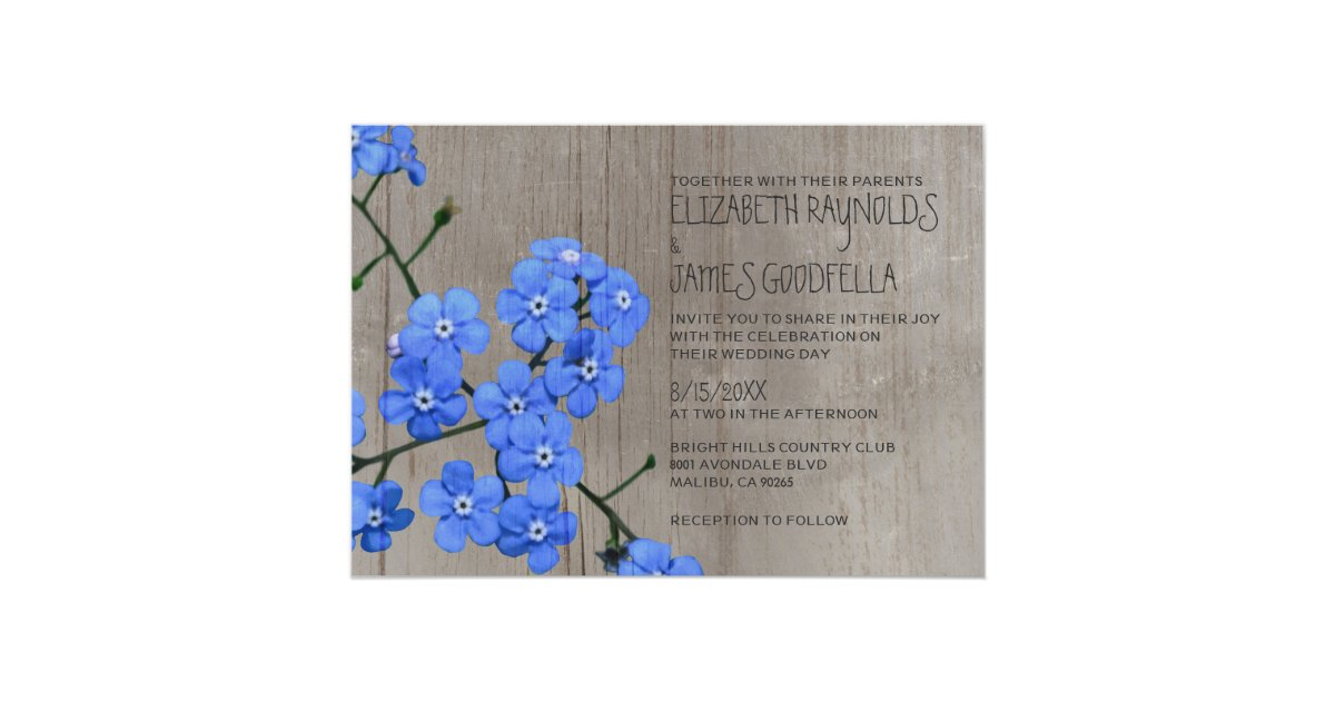 Forget Me Not Wedding Invitations: Rustic Forget-Me-Not Wedding Invitations