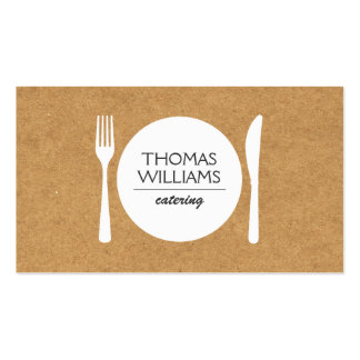 RUSTIC FORK, KNIFE, PLATE LOGO on BUTCHER PAPER Double-Sided Standard Business Cards (Pack Of 100)