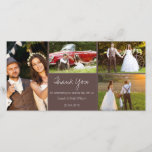"""Rustic Four Photo Wedding Thank You Photocard<br><div class=""""desc"""">This thank you wedding photo card features an earthy brown colored area with thin white dividing lines. I thought about the much loved country rustic style weddings couples are having and chose a color and font that may be in keeping with, and suitable for a rustic country wedding thank you...</div>"""