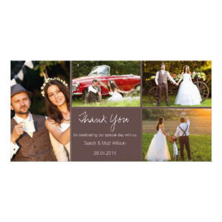 Rustic Four Photo Wedding Thank You Photocard Card