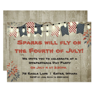 Rustic Fourth of July Invitation