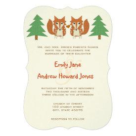 Rustic Fox and Pine Tree Wedding Invitation