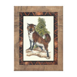 Rustic Fox Stepping on a Tree Trunk Canvas Print