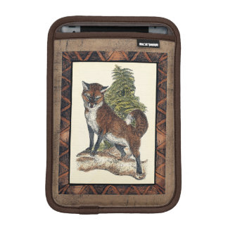 Rustic Fox Stepping on a Tree Trunk iPad Mini Sleeve