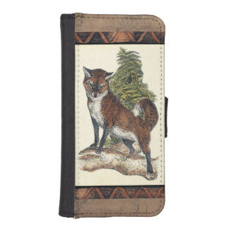 Rustic Fox Stepping on a Tree Trunk iPhone SE/5/5s Wallet
