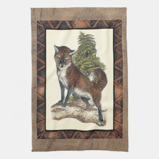 Rustic Fox Stepping on a Tree Trunk Kitchen Towel
