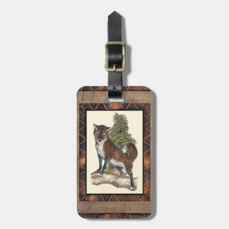 Rustic Fox Stepping on a Tree Trunk Luggage Tag