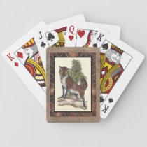 Rustic Fox Stepping on a Tree Trunk Playing Cards