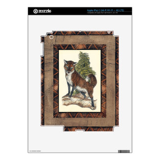 Rustic Fox Stepping on a Tree Trunk Skins For iPad 3