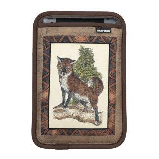 Rustic Fox Stepping on a Tree Trunk Sleeve For iPad Mini