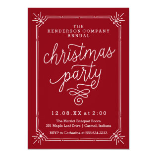 Rustic Frame Annual Christmas Party Invite at Zazzle