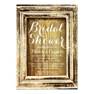 Rustic Frame Barn Wood Bridal Shower Invitations Announcement