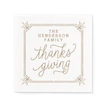 Rustic Frame Personalized Family Thanksgiving Napkin