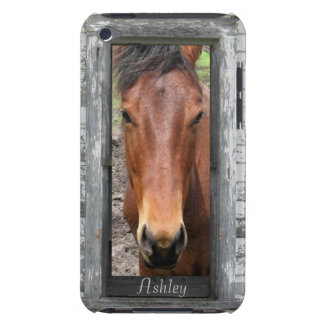 Rustic Framed Horse Head, Personalize Barely There iPod Case