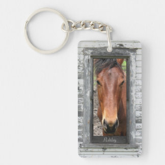 Rustic Framed Horse Head, Personalize Acrylic Key Chains