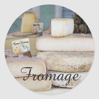 Rustic French Cheese Selection Classic Round Sticker
