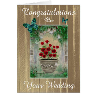 Rustic French Country Congratulations Wedding Card