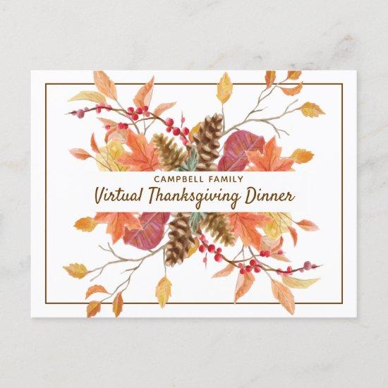 Rustic Friendsgiving Fall Leaves Virtual Dinner Invitation Postcard