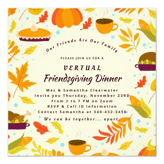 Rustic Friendsgiving Feast Virtual Dinner Party Invitation
