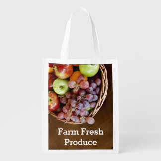 Rustic Fruit Bowl Grocery Tote Market Tote
