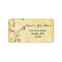 rustic  fuchsia floral ,return address labeld label